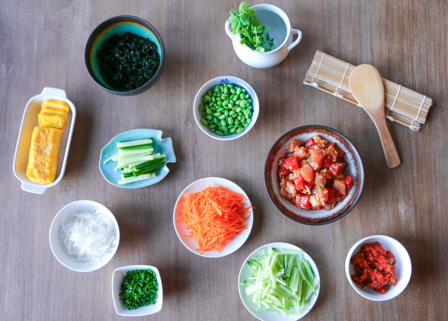 Poke and sushi ingredients
