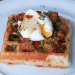 Breakfast Sausage and Egg Waffles with Maple Syrup