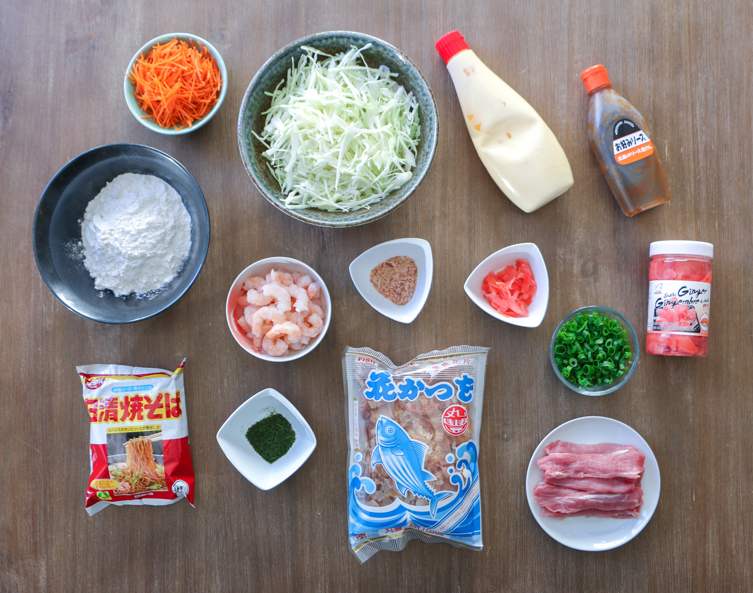 Ingredients for Hiroshima style okonomiyaki
