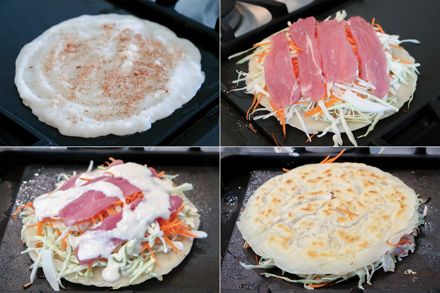 Steps to Make Hiroshima Style Okonomiyaki on a Griddle