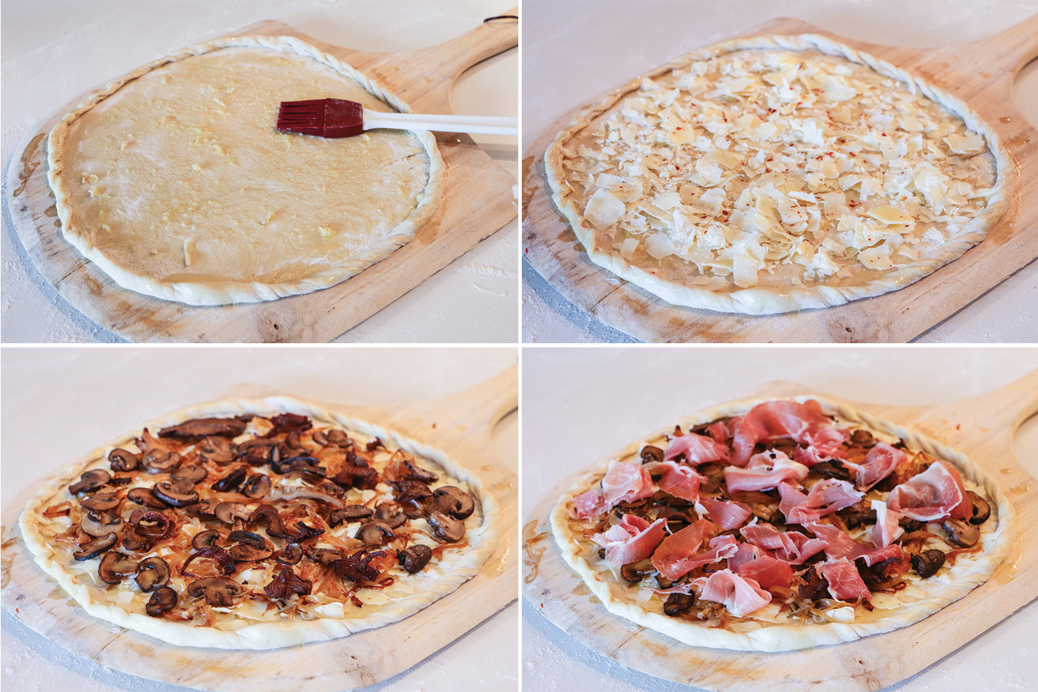 Steps to build your breakfast pizza