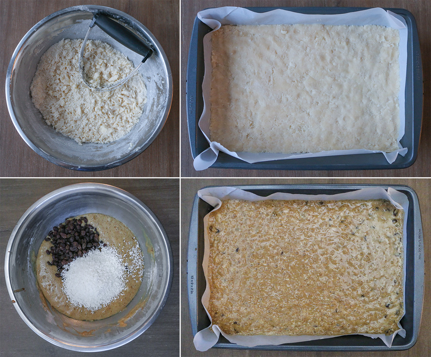 Steps to make butter tart squares