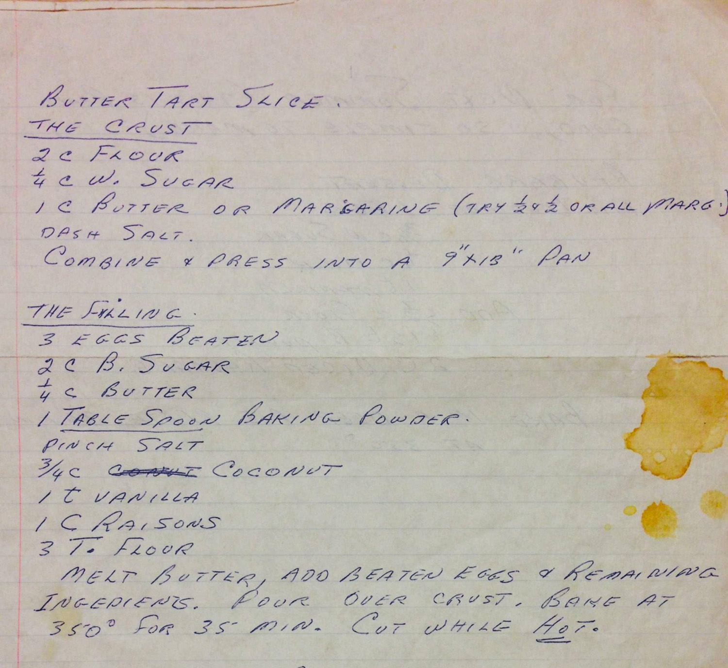 Nana's Butter Tart Recipe