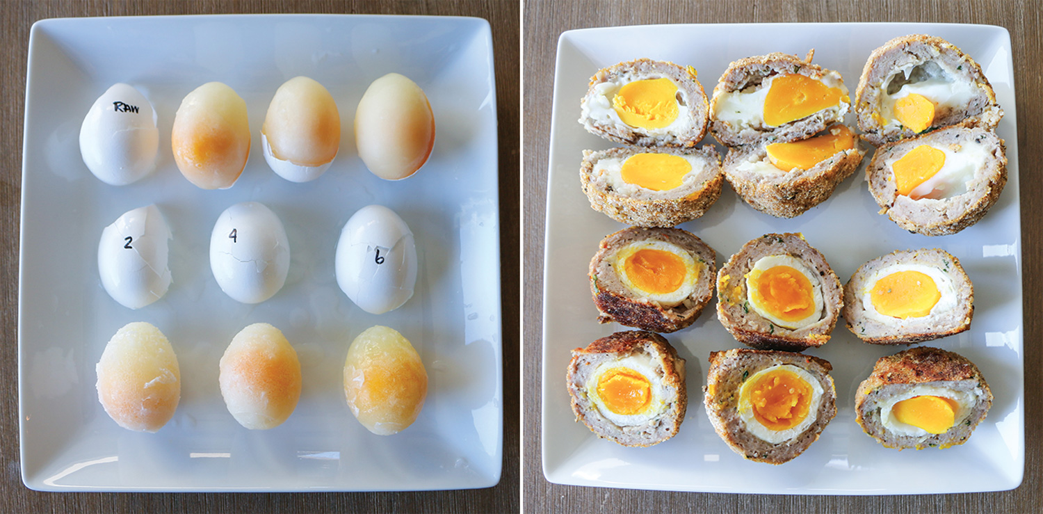 Yolk comparison of eggs boiled at varying durations