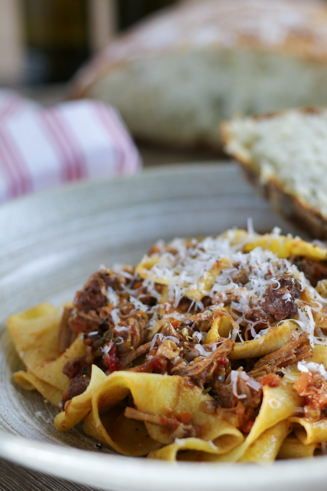 Braised Pork Ragu Papardelle with Parmesan