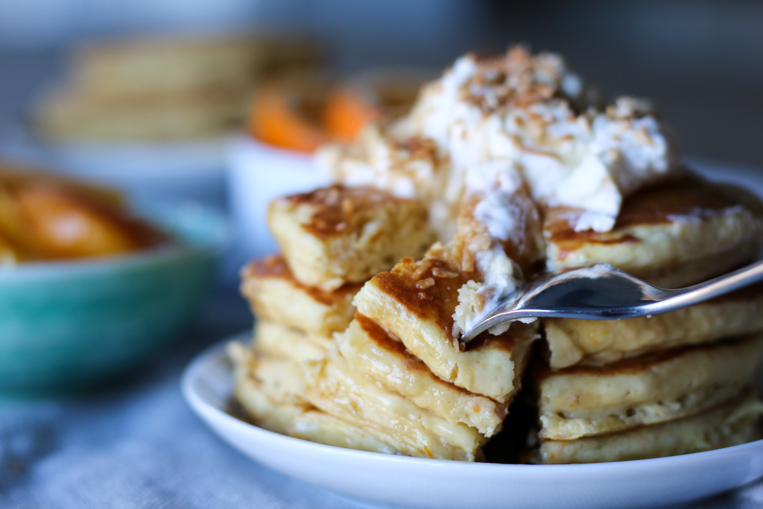 Orange sour cream pancakes