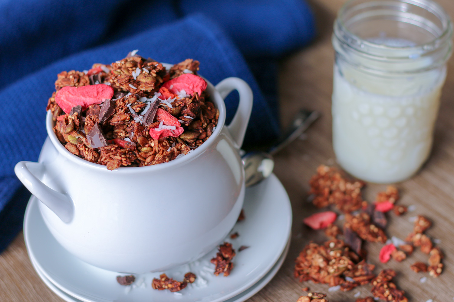chocolate chunk granola and milk