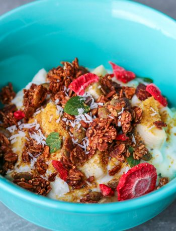 Yogurt and fruit topped with homemade granola